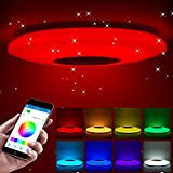 Luces de techo LED Smart Music Control de APP Lámpara de techo LED Bluetooth con altavoz...